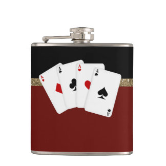 Classy Aces Poker Hip Flask