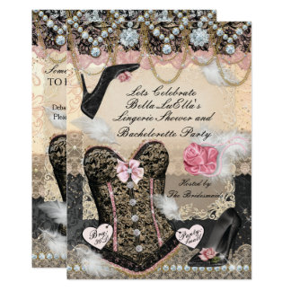 Classy and Elegant Lingerie Bachelorette Party Card