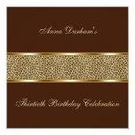 Classy Animal Print Invite [Leopard - Brown] 13 Cm X 13 Cm Square Invitation Card