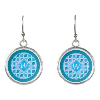 Classy Aqua Turquoise Diamond Pattern Monogram Earrings