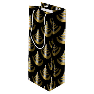 Classy Art Deco | Black and Gold Wine Gift Bag