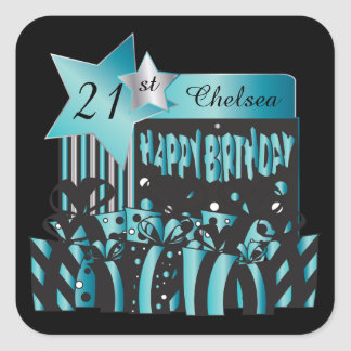 Classy Birthday | DIY Name & Age | Turquoise Square Sticker