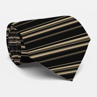 Classy Black and Beige Striped Pattern Tie