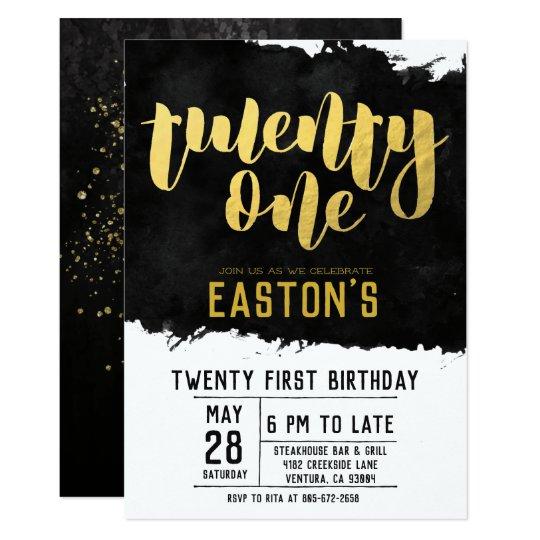 Classy Black And Gold 21st Birthday Party Invitation Zazzle Com Au