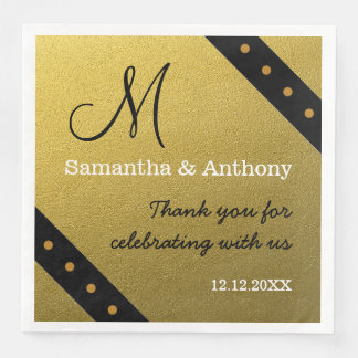 Classy Black And Gold  Wedding Monogram Thank You Paper Serviettes
