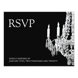 Classy black and White Chandelier RSVP Cards