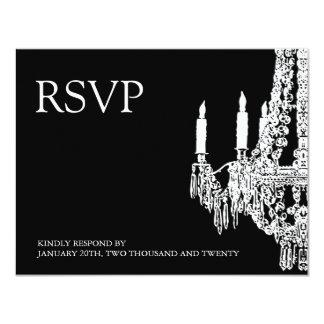 Classy black and White Chandelier RSVP Cards 11 Cm X 14 Cm Invitation Card
