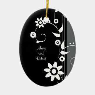 Classy Black and White First Christmas Together Ceramic Ornament