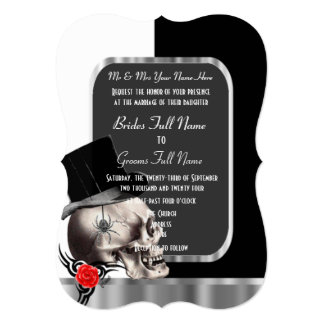 Classy black and white gothic skull wedding 13 cm x 18 cm invitation card