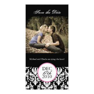 Classy Black and White Save the Date Photocard Custom Photo Card