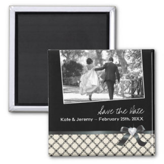 Classy Black and White Save the Date Square Magnet