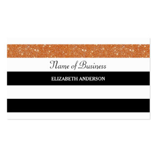 Classy Black and White Stripes FAUX Orange Glitz Pack Of Standard Business Cards