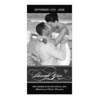 Classy Black and White Thank You Photo Card 4x8