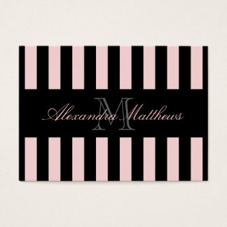 Classy Black Blush Stripe Business Card