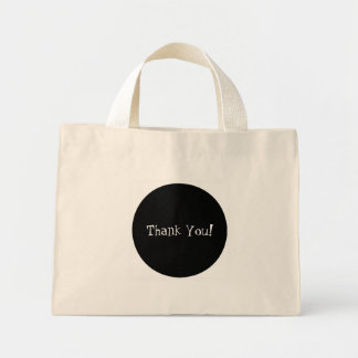 Classy Black Circle White Thank You Party Favor Mini Tote Bag