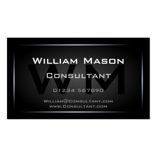 Classy Black Framed Monogram Professional Business Card Templates
