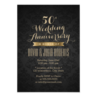 Classy Black & Gold 50th Wedding Anniversary 13 Cm X 18 Cm Invitation Card