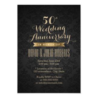 Classy Black & Gold 50th Wedding Anniversary Card