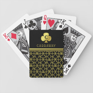 Classy Black Gold Card Suits Monogrammed Clover