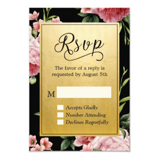 Classy Black Gold Vintage Floral RSVP Reply 9 Cm X 13 Cm Invitation Card