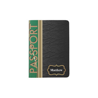 Classy Black Leather, Dark Green and Gold Passport Holder