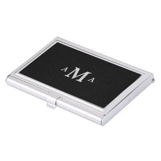 Classy Black Silver Monogram Business Card Holder