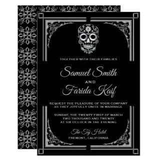 Classy Black Silver Sugar Skull Wedding Invitation