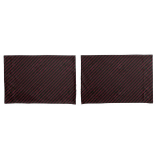 Classy Black W/ Burgundy Stripes Pillow Cases