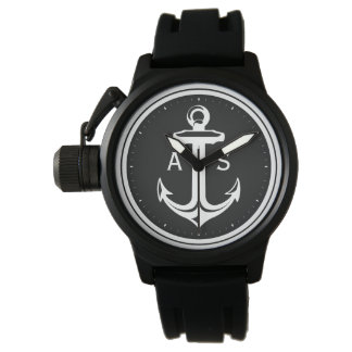 Classy Black White Anchor | Nautical Gifts Watch
