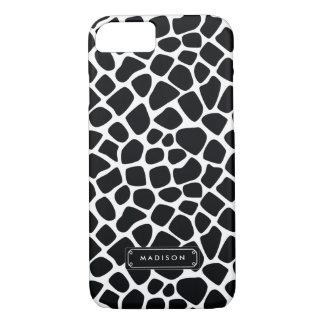 Classy Black White Giraffe Print Personalized iPhone 8/7 Case