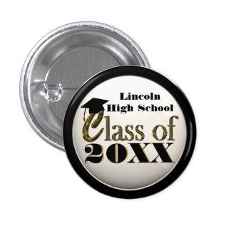 Classy Black & White & Gold Graduation Button