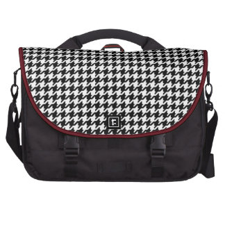 Classy black white houndstooth pattern monogram commuter bags