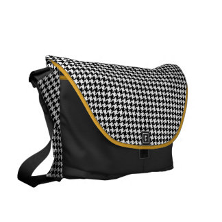 Classy black white houndstooth pattern monogram messenger bags
