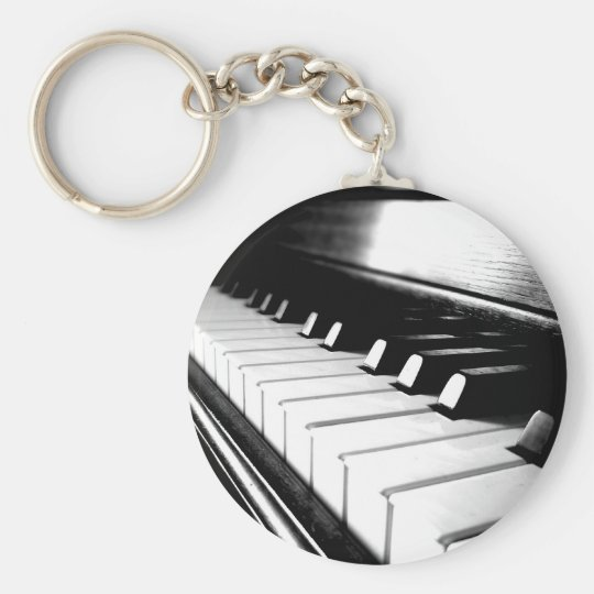 Classy Black & White Piano Photography Basic Round Button Key Ring