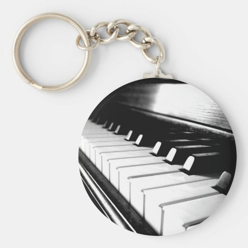 Classy Black & White Piano Photography Keychains