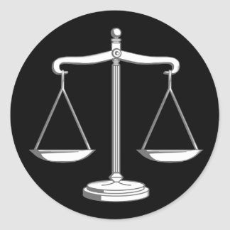 Classy Black & White Scales of Justice | Law Gifts Round Sticker