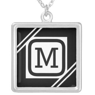Classy Black & White Simple Square Lined Monogram Silver Plated Necklace