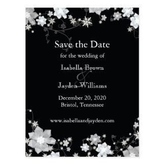 Classy Black + White Winter Wedding Save the Date Postcard