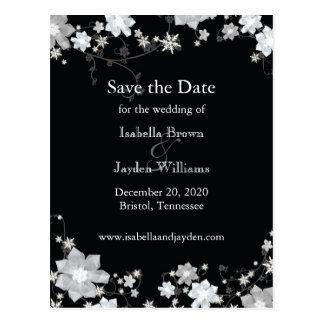 Classy Black + White Winter Wedding Save the Date Postcard