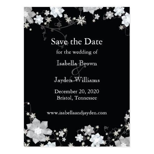Classy Black + White Winter Wedding Save the Date Post Cards