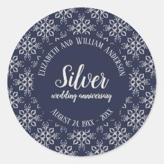 Classy Blue and Silver Gray 25th Anniversary Classic Round Sticker