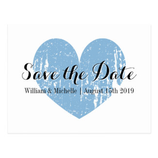 Classy blue and white heart Save the date postcard