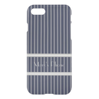 Classy Blue Pinstripes with Grey Stripes iPhone 8/7 Case