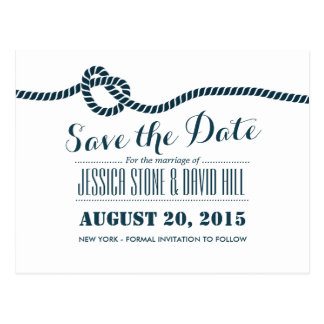 Classy Blue Rope Knot Wedding Save the Date Postcard