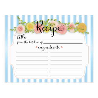 Classy Blue Stripes with Roses Recipe Card Postcard