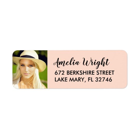 Classy Blush Photo Graduation Return Address Return Address Label