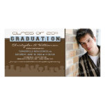 Classy Brown/Blue Graduation Announcement Personalized Photo Card