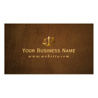 Classy Brown Leather Lawyer Attorney Business Card