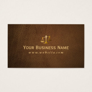 Classy Brown Leather Lawyer/Attorney Business Card