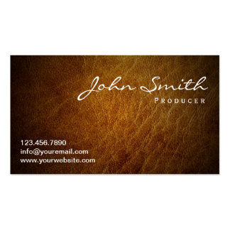 Classy Brown Leather Producer Business Card